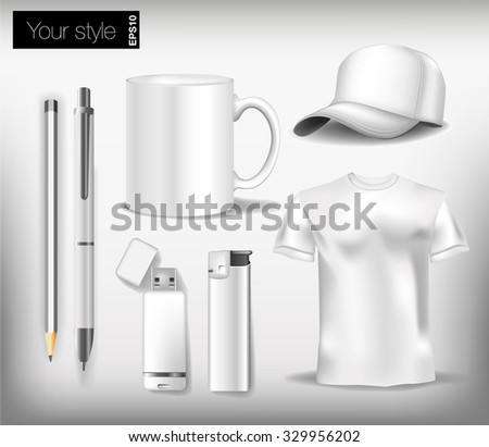 white set for corporate identity design kit, pen, cap, shirt, flash drive, cup, lighters, pencil. Vector illustration #329956202