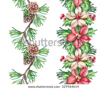 Christmas seamless border design elements, floral garland, watercolor illustration isolated on white background