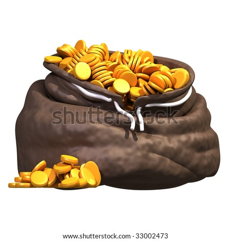Cartoon stylized moneybag full of golden coins.