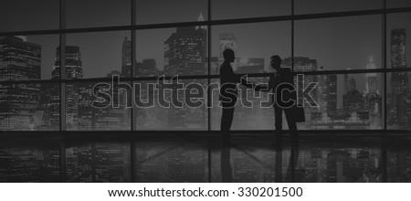 Business Men People Handshake Silhouette Concept #330201500