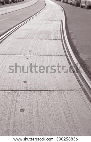 Tram Track in Vienna, Austria in Black and White Sepia Tone #330258836