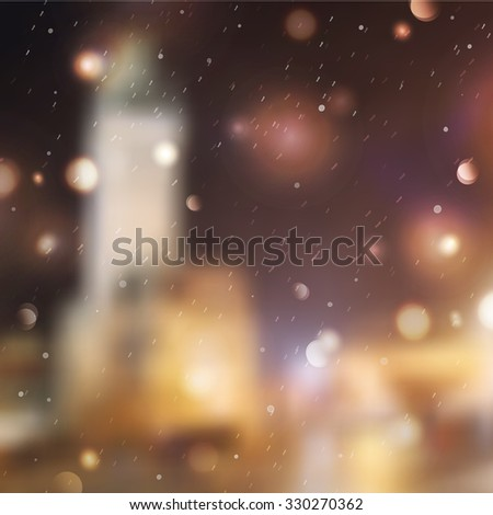 Winter night street, blurred background for christmas and new year design #330270362