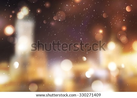 Winter night street, blurred background for christmas and new year design #330271409