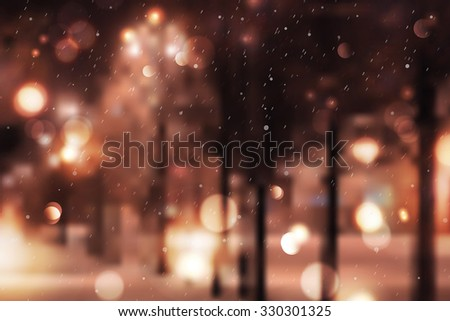 Winter night street, blurred background for christmas and new year design #330301325