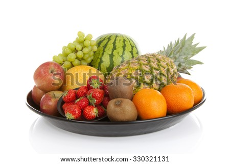 Big plate with lots of healthy fruits over white background #330321131