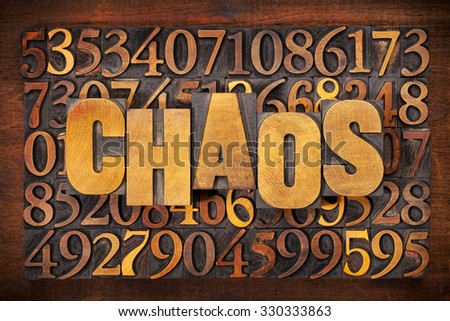 chaos and numbers word abstract in vintage letterpress wood type printing blocks #330333863