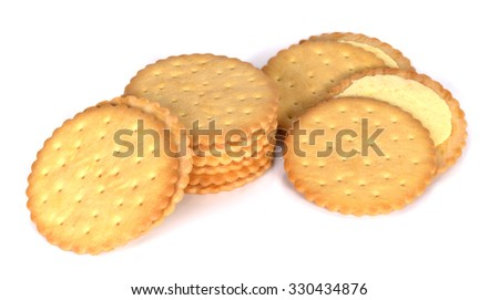 Round Cracker isolated on white with a clipping path. #330434876