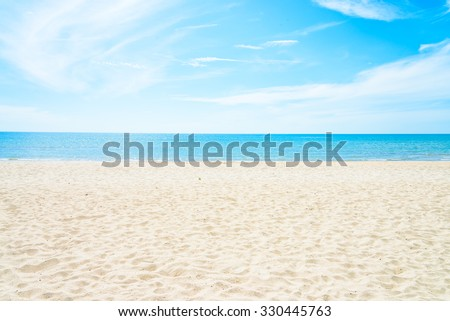 Empty sea and beach background with copy space #330445763