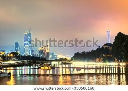 Guangzhou bridge at night in China #330500168