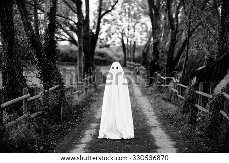 Ghost covered with a white ghost sheet  on a rural path. Grainy textured image to add vintage look.  Royalty-Free Stock Photo #330536870