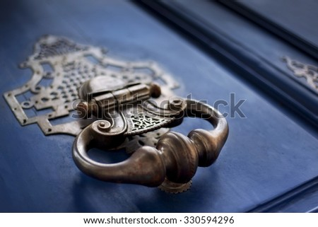 Detail of a bronze knocker on a wooden door #330594296