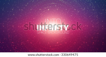 Vector infinite space background. Matrix of glowing stars with illusion of depth and perspective. Sparkling stars of nebula. Abstract futuristic hyperspace universe on dark violet background.