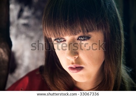 Portrait of young beauty worried woman #33067336