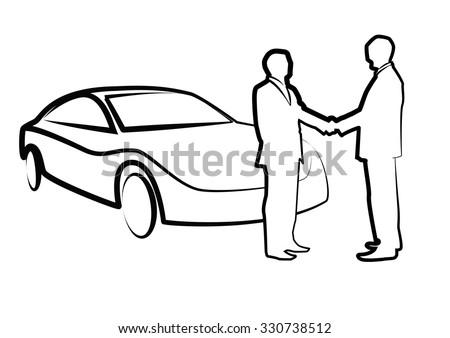 two businessmen shaking hands in front of car - illustration , vector #330738512