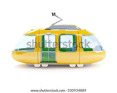 Orange 3d tram in cartoon childish style side view