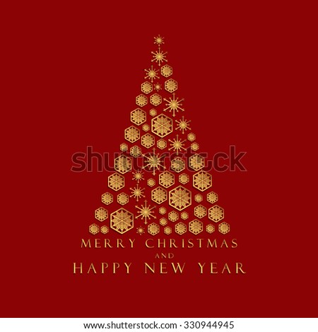 Merry christmas and happy new year greeting card vector graphic design. #330944945