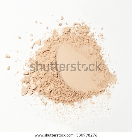 crumbled natural powder make up on white background #330998276