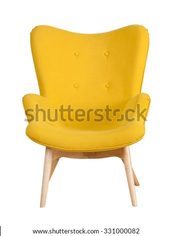 Yellow modern chair isolated on white background #331000082