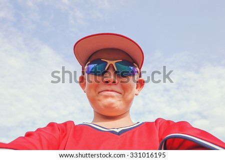 Baseball player taking a selfie