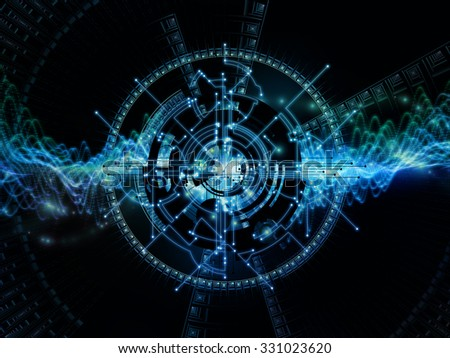 Network Unit  series. Background design of network circuit, mechanical and fractal components on the subject of networking, computing and information technology #331023620