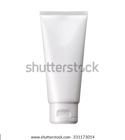 Blank White cosmetic tube pack Of Cream Or Gel. Ready for your package design. isolated on white background - realistic photo image - with clip path Royalty-Free Stock Photo #331173014