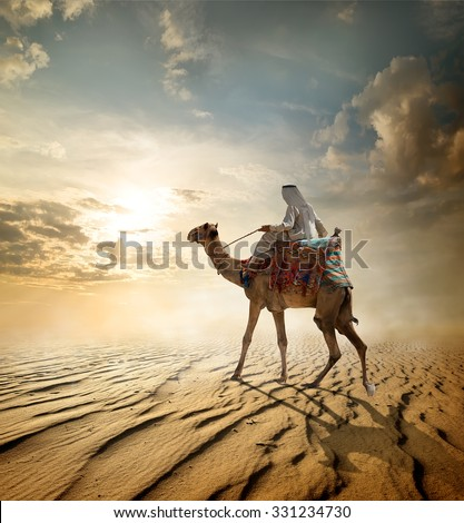 Bedouin rides on camel through sandy desert Royalty-Free Stock Photo #331234730