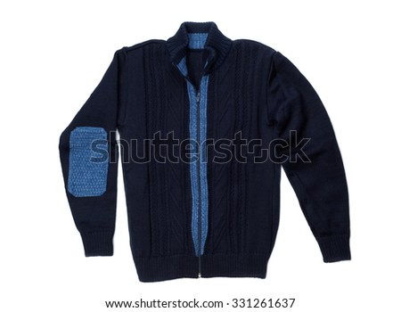 Warm knitted blue sweater with a zipper. Isolate on white. #331261637