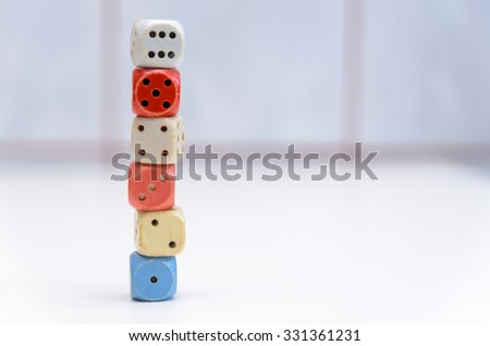dices mounted in column in ascending order #331361231