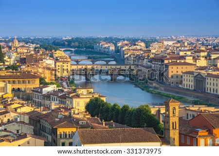 Florence city skyline and Ponte Vecchio, Florence, Italy #331373975