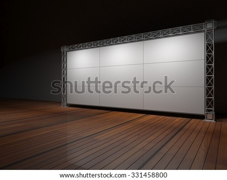 Truss stage on wood floor B. 3D rendering #331458800