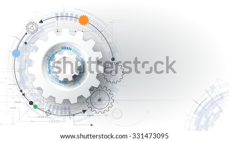 Vector futuristic technology, 3d white paper gear wheel on circuit board. Illustration hi-tech, engineering, digital telecoms concept. With space for content, web- template, business tech presentation Royalty-Free Stock Photo #331473095