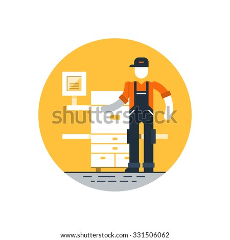 Printshop services, polygraphy production, copy center, vector flat illustration