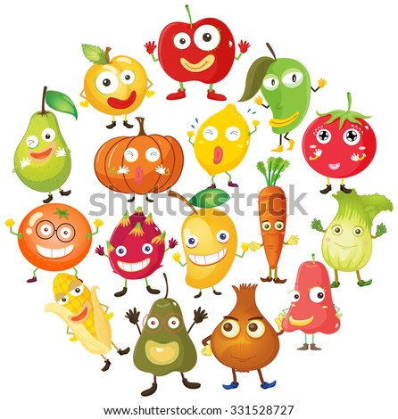 Fruits and vegetables with face illustration #331528727