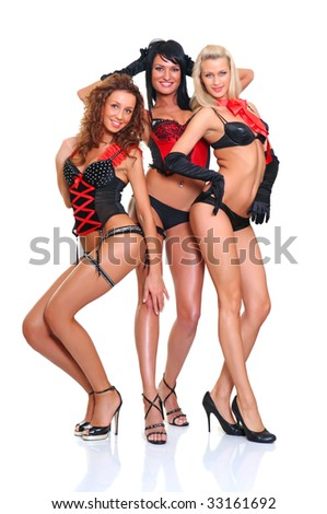 Three beautiful women in full growth pose in front of the chamber, isolated on a white background, please see some of my other parts of a body images #33161692