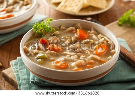 Homemade Chicken Noodle Soup with Carrots and Celery #331661828