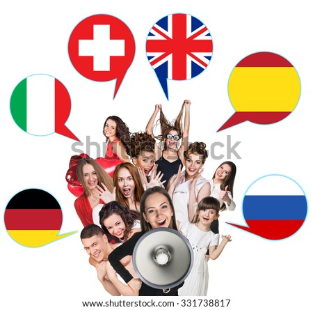Group of people surrounded by dialogue bubbles with countries flags. Germany,  Britain, Russia, Czech, Spain, Switzerland. Learning of foreign languages concept.  Royalty-Free Stock Photo #331738817