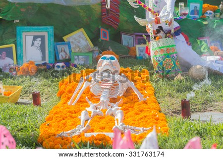 Los Angeles - USA - October 24, 2015: Traditional Mexican altar installation durting the Day of the Dead Festival (Dia de Los Muertos ) at Hollywood Forever Cemetery. #331763174
