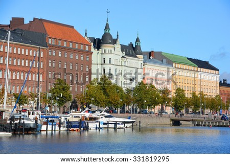 HELSINKI FINLAND 09 25 2015: Pohjoisranta is located in center and runs along northern harbor. On waterfront there are houses built in different architectural styles in different historical periods #331819295