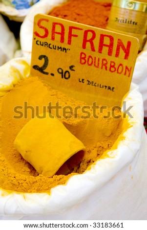 saffron, street market in Castellane, Provence, France #33183661