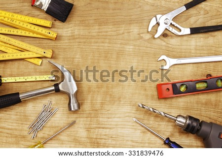Assorted work tools on wood #331839476