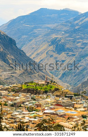 alausi small town in chimborazo province ecuador notice altitude difference in the area alausi building canyon vacation nature outdoor ecuador outside sculpture landscape travel statue panorama mounta #331871249