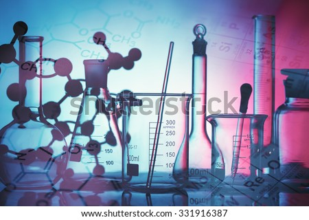 Science and medical background. Laboratory glassware. #331916387