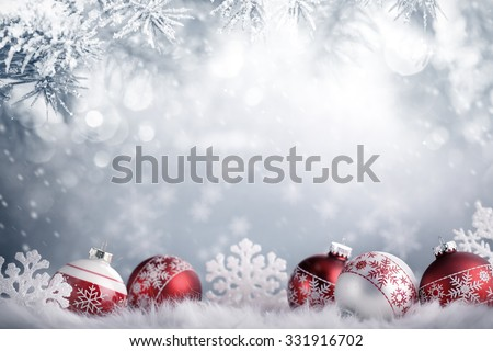 Christmas balls in winter setting,Winter holidays concept. Royalty-Free Stock Photo #331916702