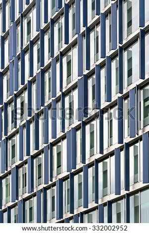 Modern Office Building With Blue Fins Decor #332002952