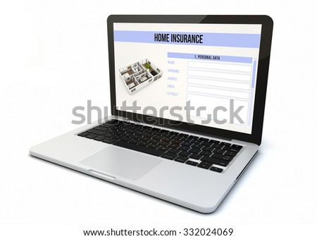 render of a 3d generated computer with home insurance on the screen. Screen graphics are made up. #332024069