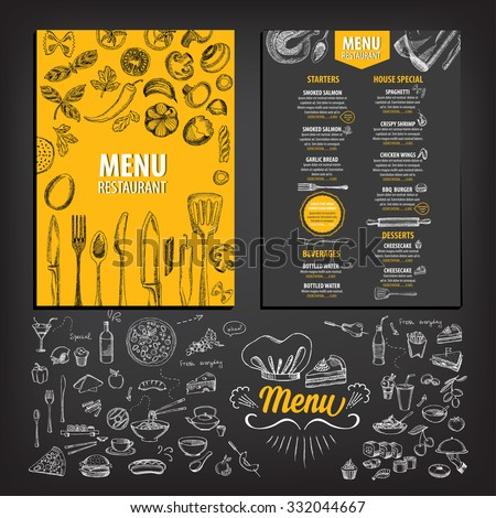 Vector restaurant brochure, menu design. Vector cafe template with hand-drawn graphic. Food flyer. Royalty-Free Stock Photo #332044667