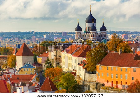 Toompea hill with fortress wall, tower and Russian Orthodox Alexander Nevsky Cathedral, view from the tower of St. Olaf church, Tallinn, Estonia #332057177