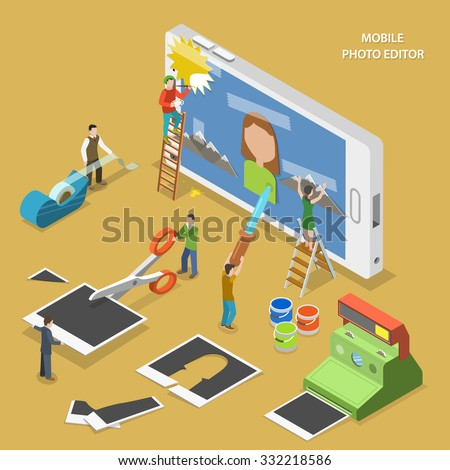 Mobile photo editor flat isometric vector concept. People create and image on smartphone using photos, sticky tape and paint.