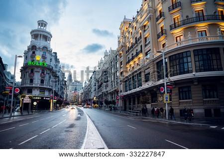 MADRID, SPAIN - MARCH 22, 2015: Gran Via avenue (Broadway of Madrid), Madrid, Spain, Madrid is the capital and the largest city of Spain, #332227847