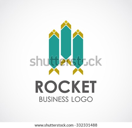 Three rocket booster abstract vector and logo design or template fly technology business icon of company identity symbol concept #332331488